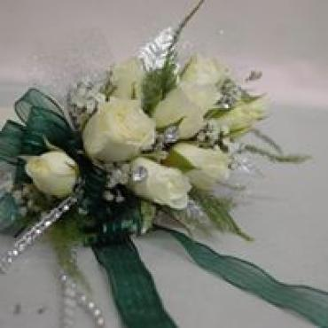 White Rose with Teal Ribbon Wrist Corsage