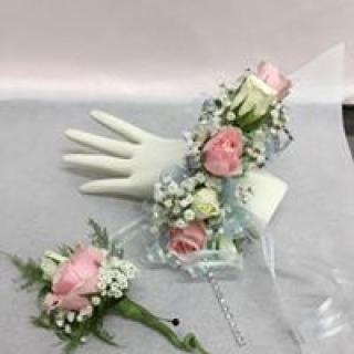 Pretty in Pink Corsage with matching boutonniere