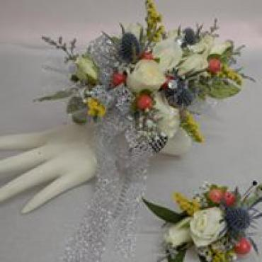 Multicolor Corsage with Silver Lace Ribbon