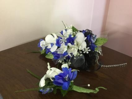 White Orchids and Blue Delphinium Corsage