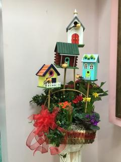 Bird House Blooming Basket