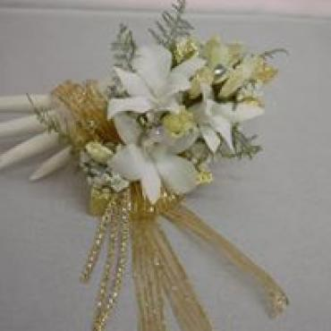 Golden Shimmer with White Roses & White Orchids Corsage
